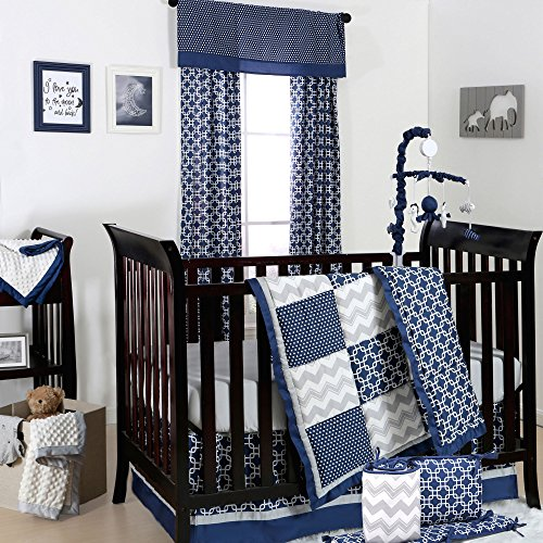 Navy Blue and Grey Geometric Patchwork 5 Piece Baby Bedding by The Peanut Shell
