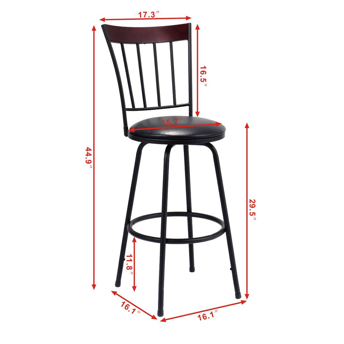 Costway Swivel Counter Height Bar Stool Modern Barstool Bistro Pub Chair Set of 3