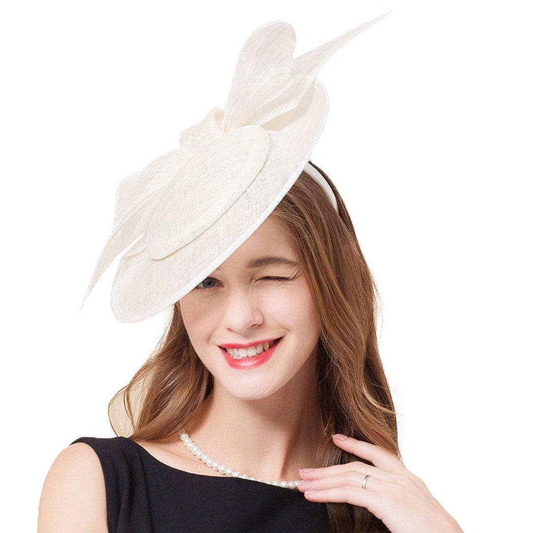 Womens Fascinators Summer Wide Brim Derby Hat Bowknot Church White Fedora