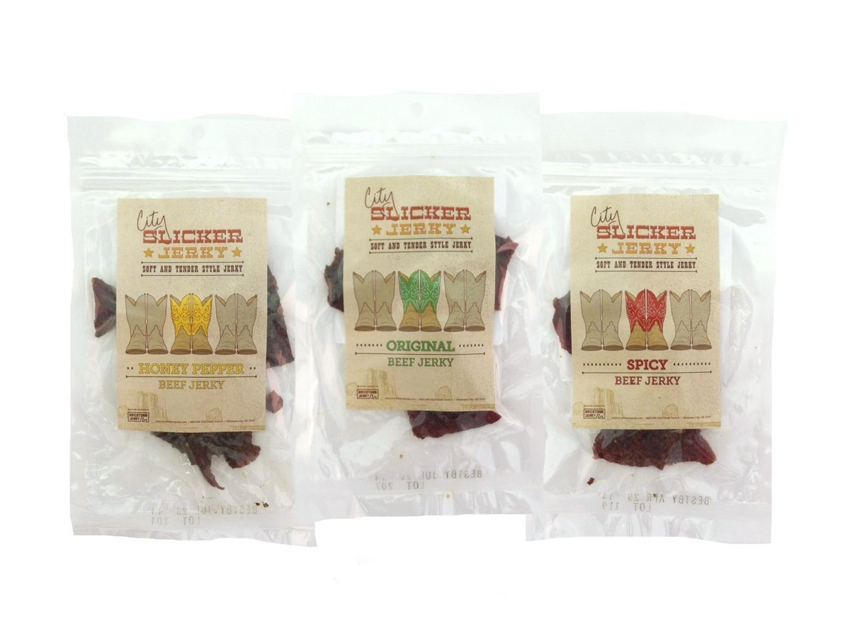 Best Soft and Tender Style Beef Jerky Sampler - TESTER 3 PACK - in 3 Best Selling Flavors (Original, Honey Pepper and Spicy) Try This Awesome Sampler Pack Today! - 4.5 total oz.