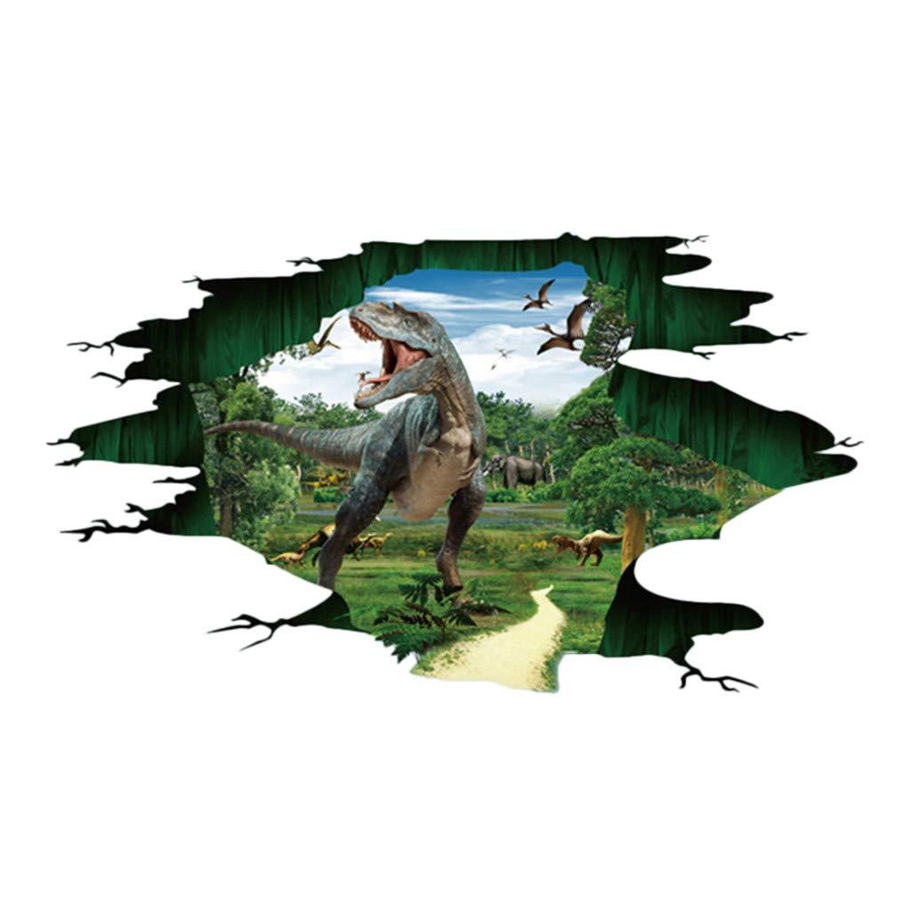Creative 3D Dinosaur Wall Floor Ceiling Stickers Bridge Poster Home Decals Decor