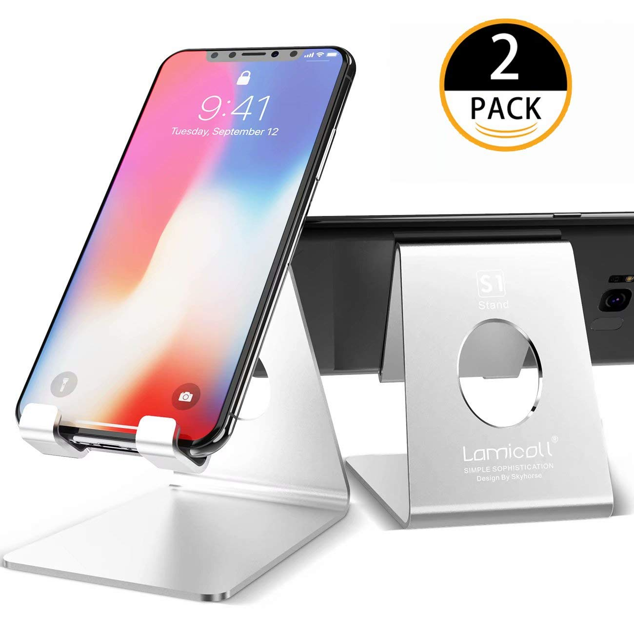 Cell Phone Stand, Lamicall Phone Stand : [2 Pack] Desktop Holder Cradle, Dock Compatible with Switch, All Android Smartphone, Phone 6 6s 7 8 X Plus 5 5s 5c, Universal Accessories Desk - Silver