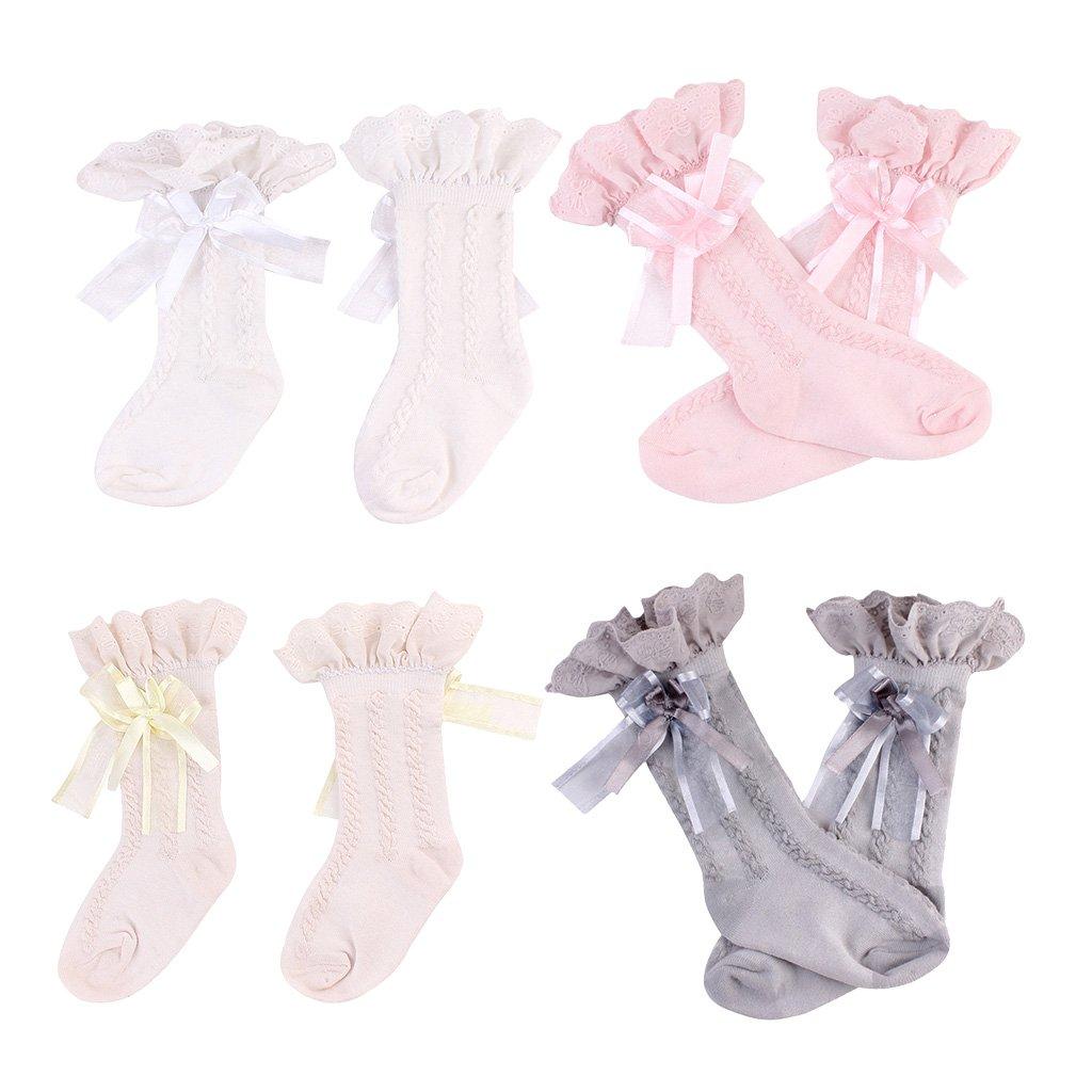 Homyl 3/4 Pair Spanish Baby Girls Knee High Socks Bow Romany Toddler Babies School Stockings - 3 Pair-0-2T, 0-2T