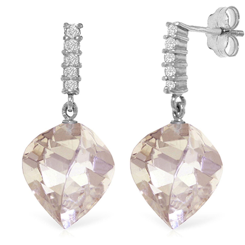 ALARRI 25.75 Carat 14K Solid White Gold Gateway Of Love White Topaz Diamond Earrings