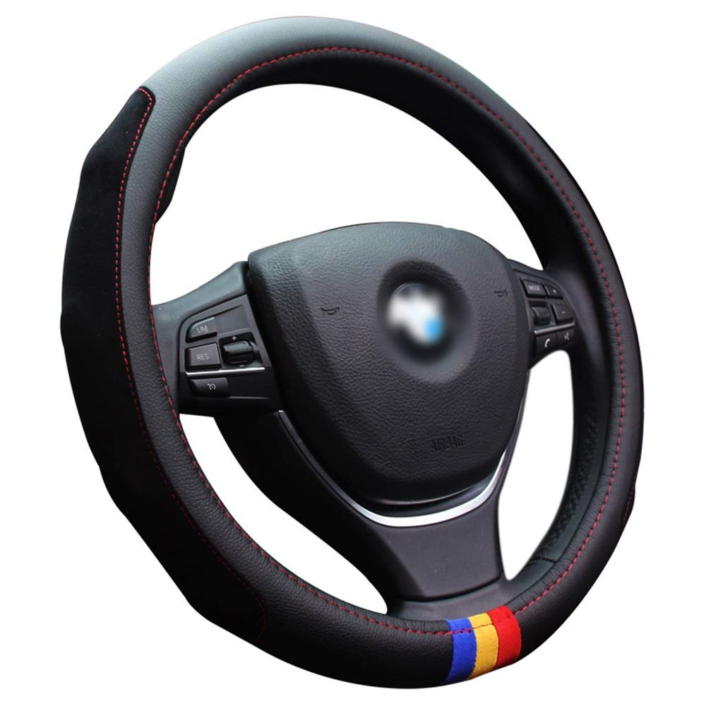 DANHCHUN Men Women 38cm Color Strip Steering Wheel Cover with Leather for 90% Car SUV Car Accessories Color : Black