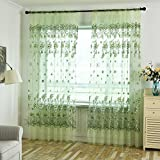 Norbi Voile Tulle Room French Window Curtain Sheer Voile Printed Blossoming Panel Drapes