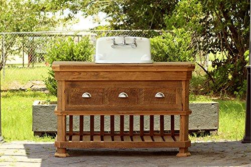 "Craftsman Style 54"" Reclaimed Wood Kitchen Island Barn Wood Bath Vanity Utility Farm Sink Package"
