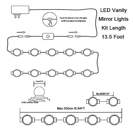 10 morceaux dappareils d/éclairage bande pour le maquillage Vanity Set Lumi/ère LED pour miroir Hollywood Style lumi/ères avec Dimmable Ampoules 8 M/éthode dinstallation et Super Bright ampoule