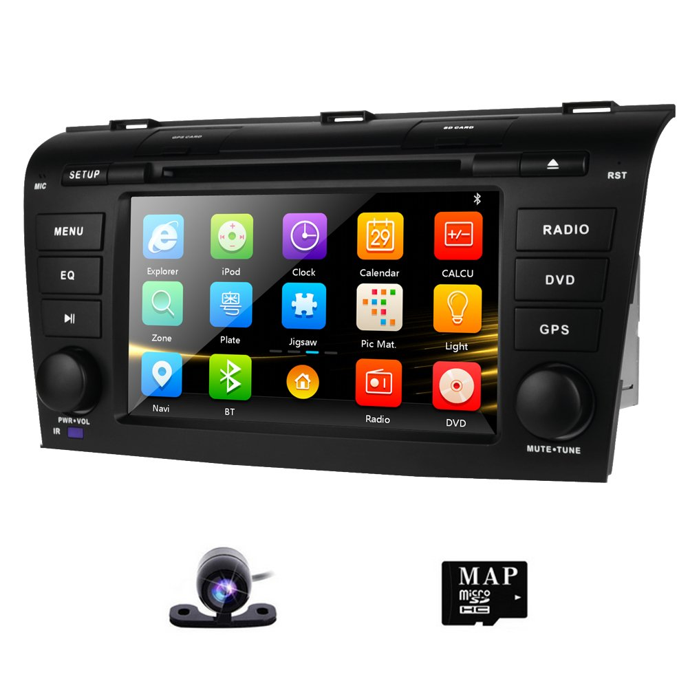 """Amazon.com: DVD GPS Navigation for Mazda 3 2004-2009 Radio Stereo with  Navigation SD Card + Backup Camera AM FM Bluetooth 3G 1080p Canbus 7"""" Touch  Screen ..."""