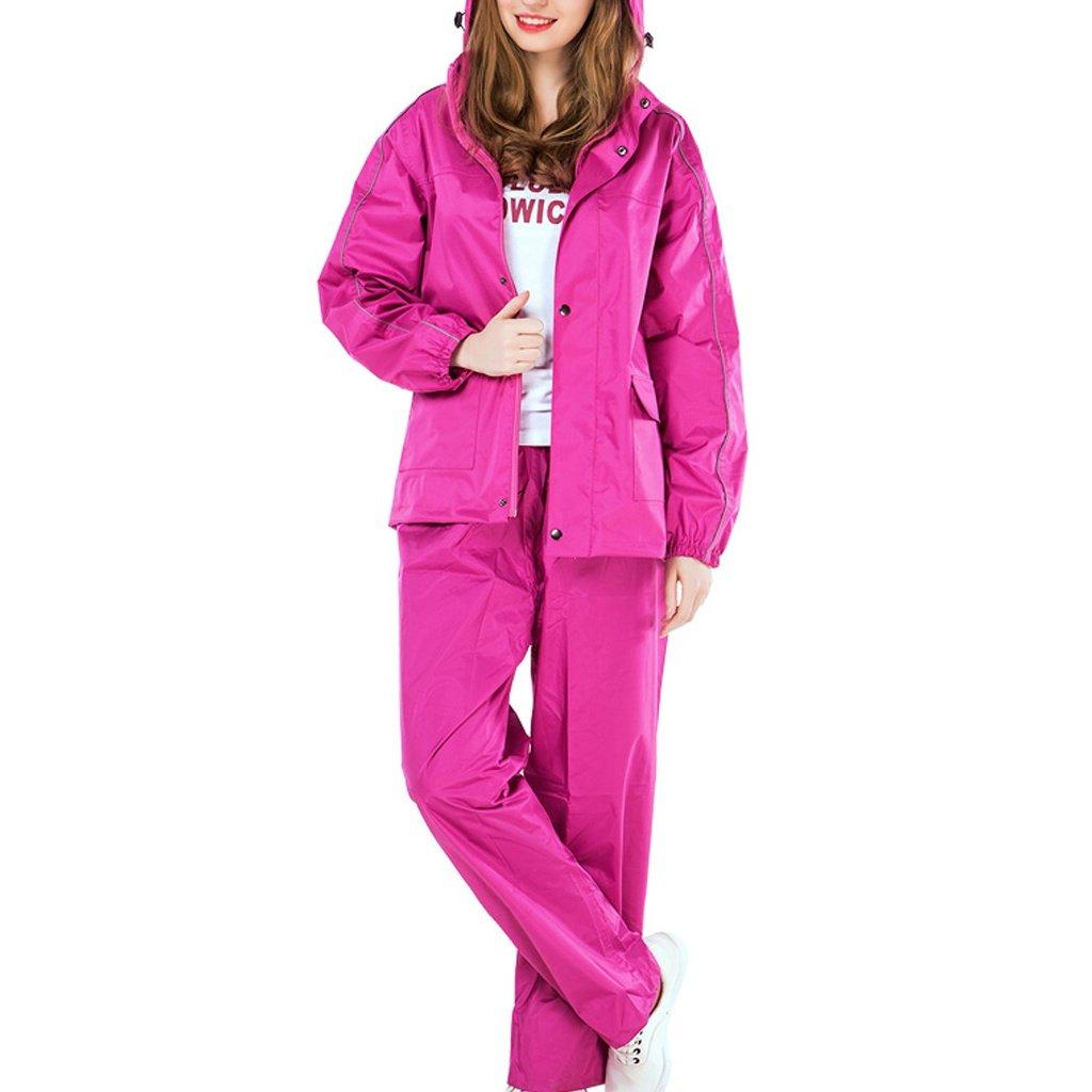 Colore : Rosa Rossa, Dimensioni : S. Giacche Impermeabili per Uomo//Donna Giacca per Pantaloni Antivento//Pantaloni Impermeabili con Cappuccio A Scomparsa RAINCOAT Giacche per la Pioggia