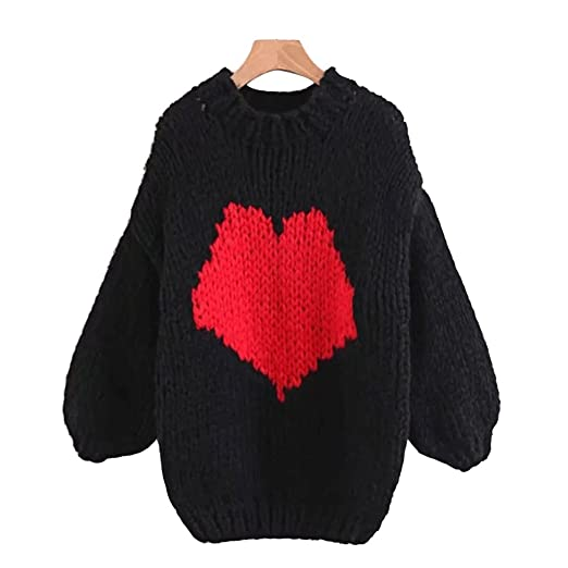 Image Unavailable. Image not available for. Color  Women s Love Heart Cable  Knit Sweater ... f2d03a9e7