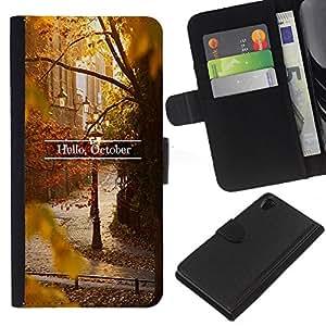 For Sony Xperia Z2 D6502 Case , Sign Leaves Fall Autumn Nature - la tarjeta de Crédito Slots PU Funda de cuero Monedero caso cubierta de piel