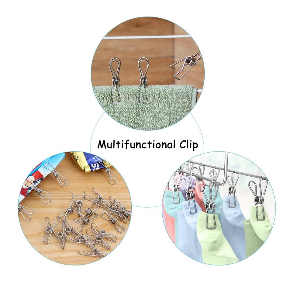 120 Pack Stainless Steel Cloth Pin, 2.2 Inch Clothesline Hook for Socks Towel Bag Scarfs Hang Drying Rack Tool, Laundry Kitchen Cord Wire Line Clothespins Pegs, File Paper Bookmark S Binder Metal Clip by Eleling (Image #4)