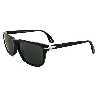 78796be206d45 Persol Men s 3026 Black Frame Grey   Green Lens Plastic Sunglasses ...