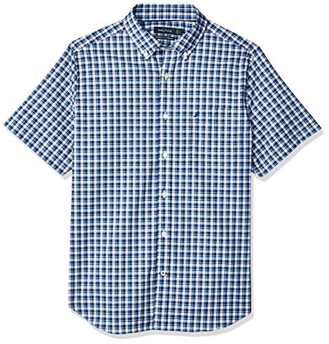 Nautica Men's Short Sleeve Wrinkle Resistant Lux Plaid Button Down Shirt, deep Blue, XX-Large