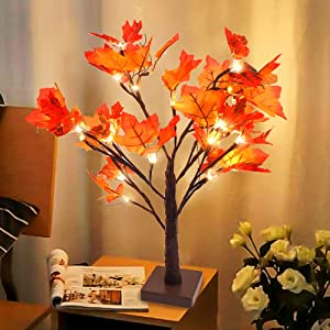 Whonline Lighted Fall Maple Tree Table Centerpiece Fall Decor 24 LED Battery Powered for Thanksgiving Autumn Table Home Wedding Party Indoor Outdoor Decoration