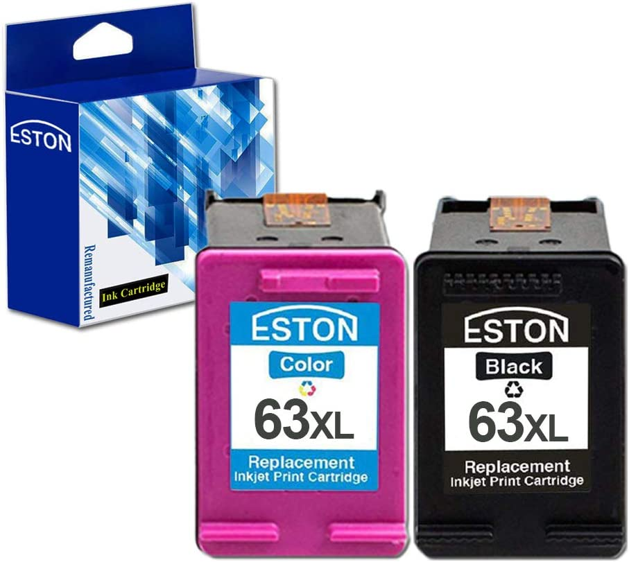 ESTON Remanufactured Ink Cartridges Replacements for HP 63XL for HP DeskJet 1110 1112 2130 3630 (Black,Tricolor 2-Pack)