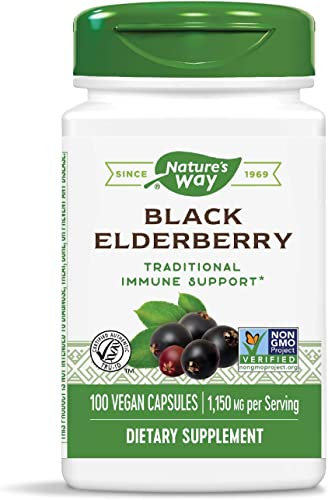 Nature s Way Black Elderberry Capsules, 1,150 mg per serving, Immune Support, 100-Count Packaging May Vary