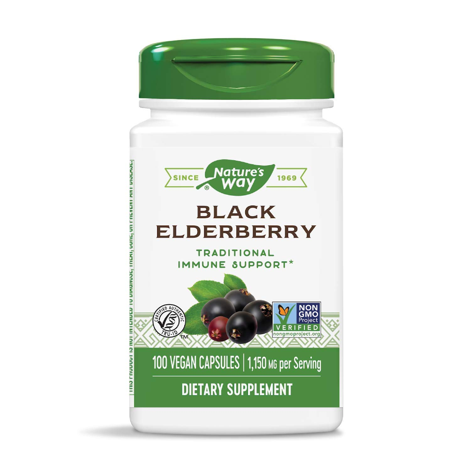 Nature's Way Black Elderberry Capsules 575 mg, 100-Count