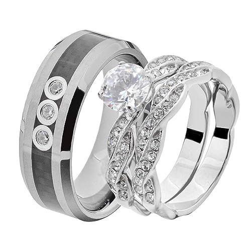 Amazon.com: Juego de anillos de boda para pareja y mujer, de ...