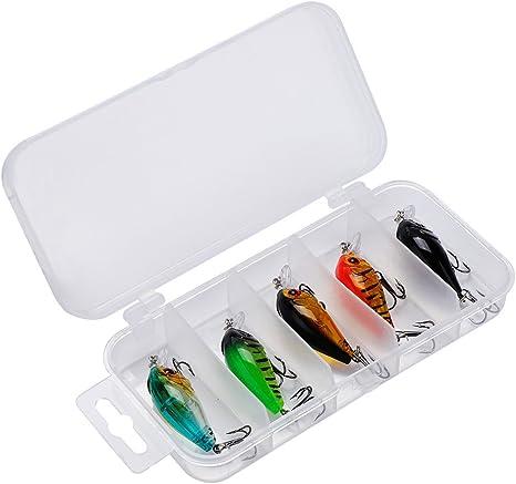 Keenso 5 Piezas Cebo de Pesca Artificial señuelo de Pescado Caja de Aparejos de Pesca plástico Artificial cebos Falsos señuelos cebos de imitación Carpa Artes de Pesca con anzuelos (Tipo 2)(Type 2):