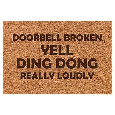 Coir Entry Doormat Door Mat Funny Doorbell Broken Yell Ding Dong Really Loudly