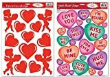 Valentines Days Reusable Window Clings Vinyl Film Decorations - Cupids / Red Hearts & Candy Conversation Hearts (36 Clings Total)