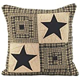 IHF Home Decor Quilted Pillow Beddings Vintage Star Black Design 100% Cotton 16 X 16 Inches Pillows
