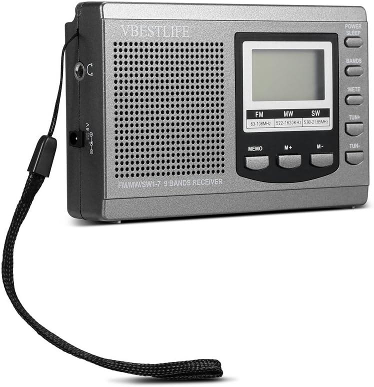 Sutinna Mini Radio Digital portátil con Auriculares, Soporte de Radio estéreo de Bolsillo FM/MW/SW con Reloj Despertador Digital Receptor de Radio FM para el hogar/Oficina/Viaje(Gris): Amazon.es: Electrónica