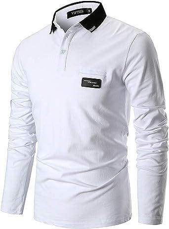 YIPIN Hombre Casual Polo Manga Larga Camisetas Contraste Cuello Camisas Casual T-Shirt Poloshirt Elegante Golf Tennis Clásico Oficina: Amazon.es: Ropa y accesorios