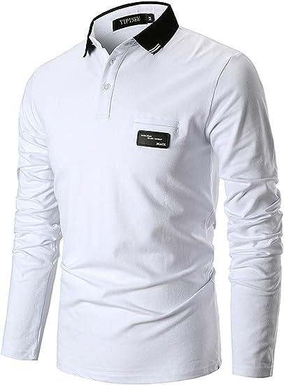 YIPIN Hombre Casual Polo Manga Larga Camisetas Contraste Cuello ...