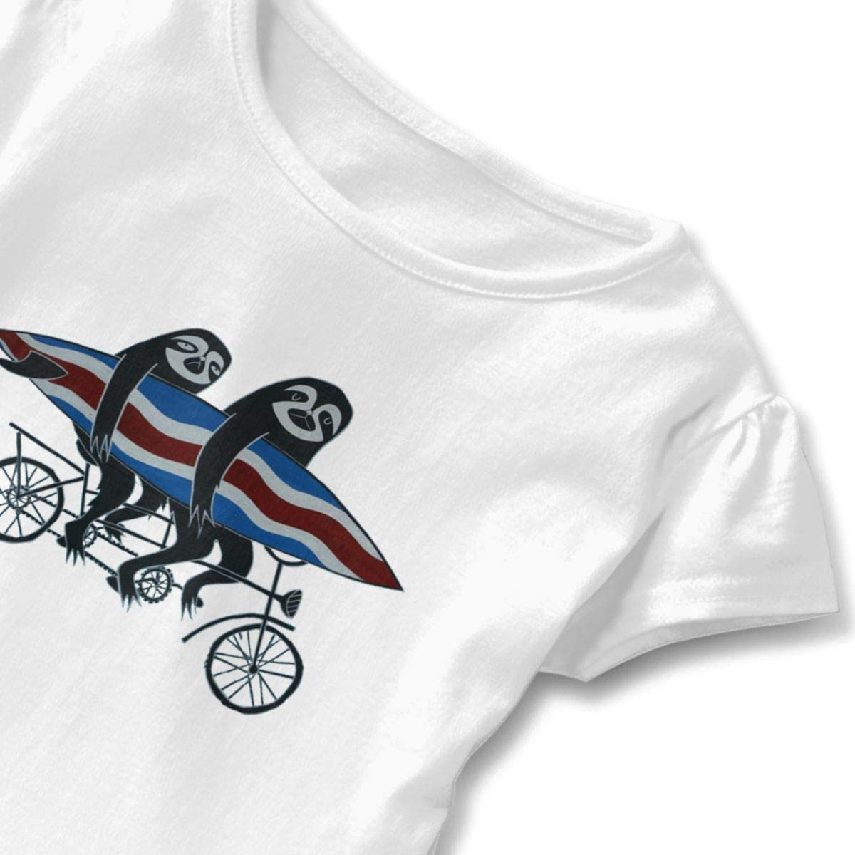 Surfing Tandem Sloths Bicycle Shirt Baby Girls Ruffles Casual Tees for 2-6 Years Old Baby