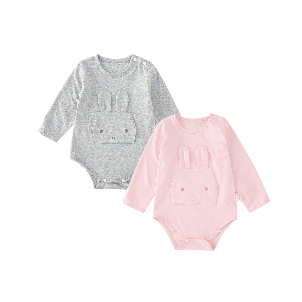 pureborn Baby Girls Bodysuit 2 Pack Infant Long Sleeve Autumn One Piece, 100% Cotton Gray&Pink 12-24 Months