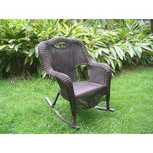 Antique Wicker Rocker - International Caravan 3195-AP-IC Furniture Piece Resin Wicker Indoor/Outdoor Rocker