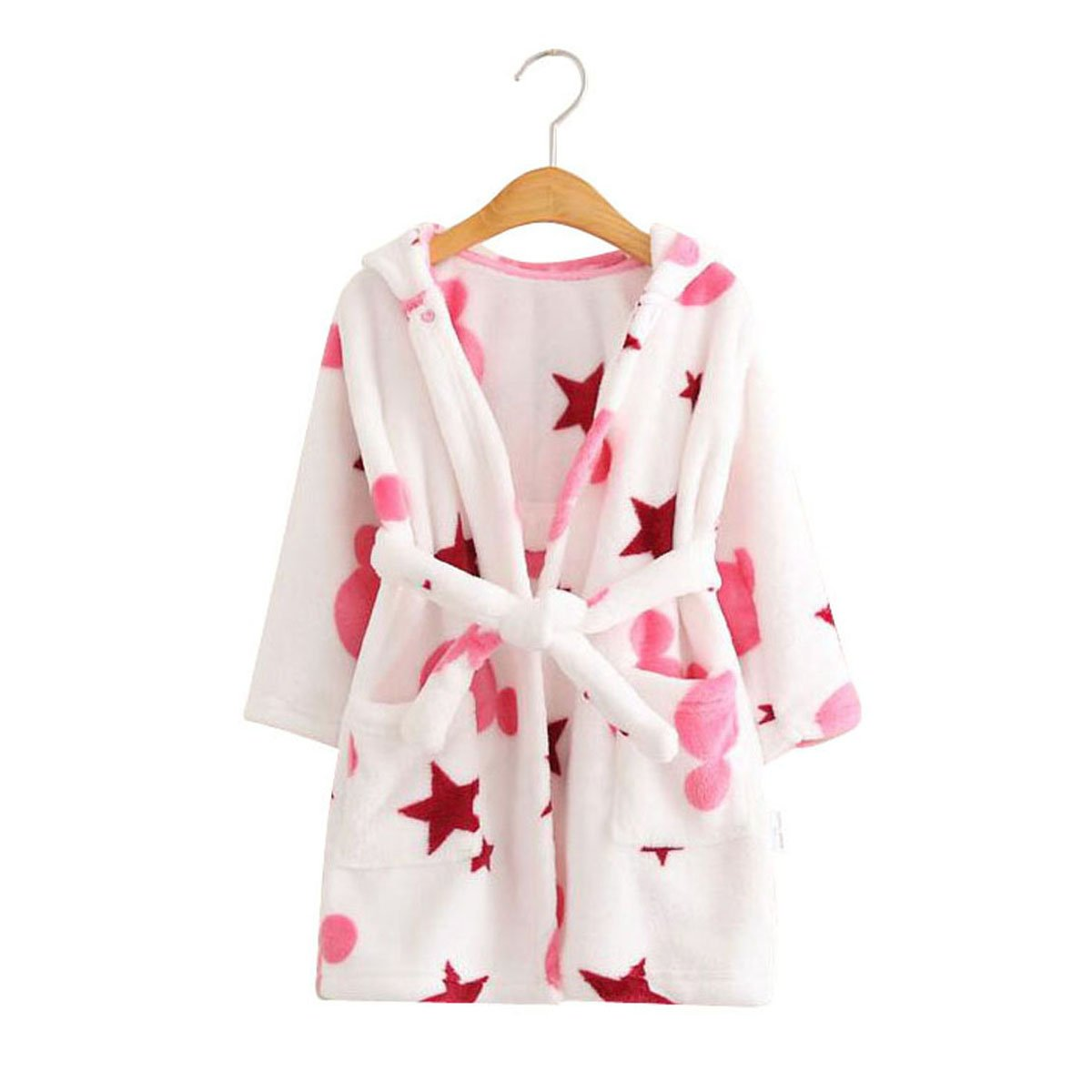 Kids Coral Fleece Bathrobe Robe Boys And Girls Hooded Robe Shawl Toddler Pajamas (18 Month - 24 Month, Stars)