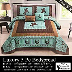 Western Collection New 5 Pieces Western Stars and Horses Cowboy Luxury Home Quilt Bedspread Oversize Comforter with Cushions (Queen, Turquoise Horse)