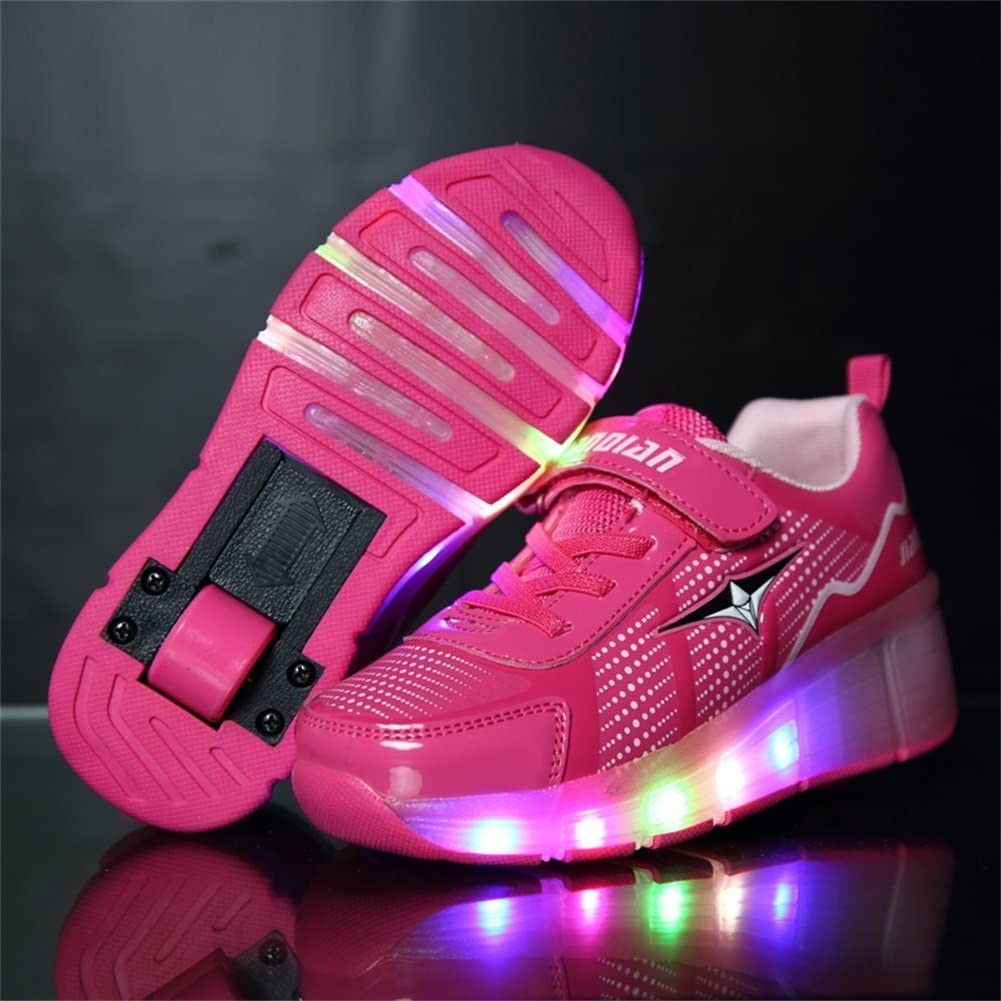 6KZMNA0Z0A Single Wheel Shoes Fashion Shinning LED Light Up Skate Sneakers for Unisex