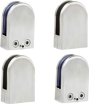 12PCS 10-12mm Stainless Steel Glass Clamp 304 Clip Flat Back Bracket Handrail UK