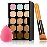 Generic 15 Colors Contour Concealer Palette +1 Cream Powder Makeup Brush +1Puff