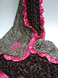 MinkyBabyGifts Personalized Minky Baby Blanket in Pink Leopard