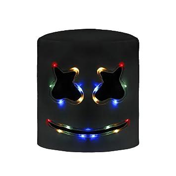 molezu Látex máscara de Marshmallow DJ LED, Casco del Festival música, Máscara la Mascarada del Novedad, Látex de Goma máscara la Cabeza Completa.