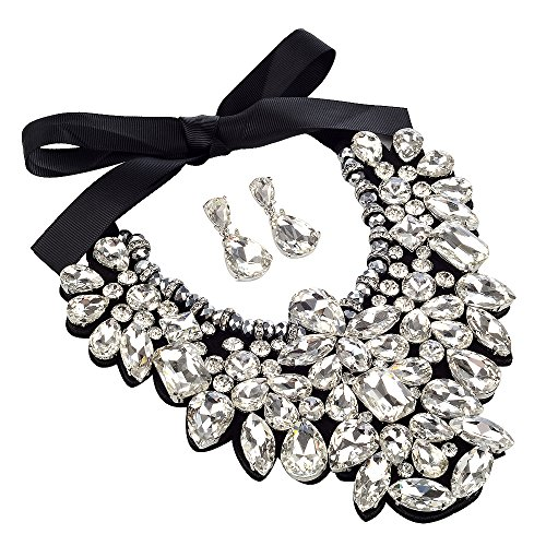 3 Colors Costume Statement Necklace for Women Jewelry Fashion Necklace 1 Set with Gift Box (White)