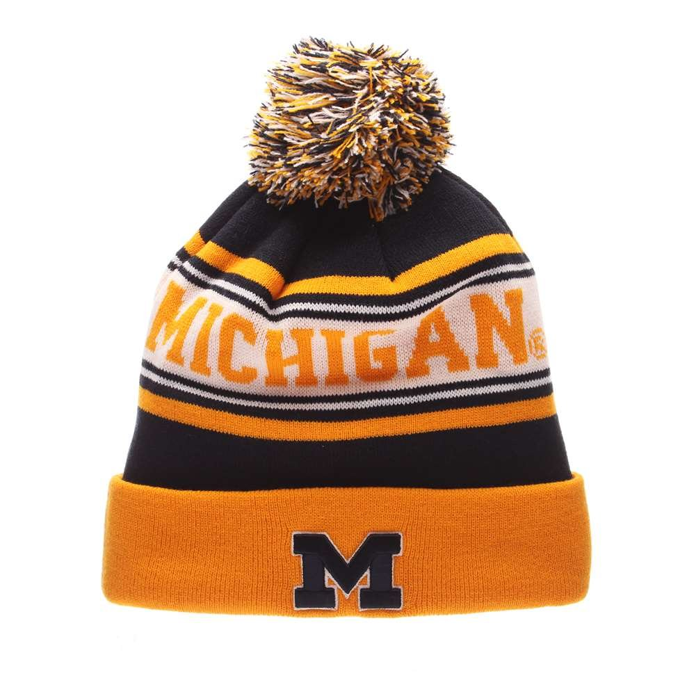 8e8b16273a4 Amazon.com   Michigan Wolverines Zephyr Finish Line Pom Knit Beanie    Sports   Outdoors