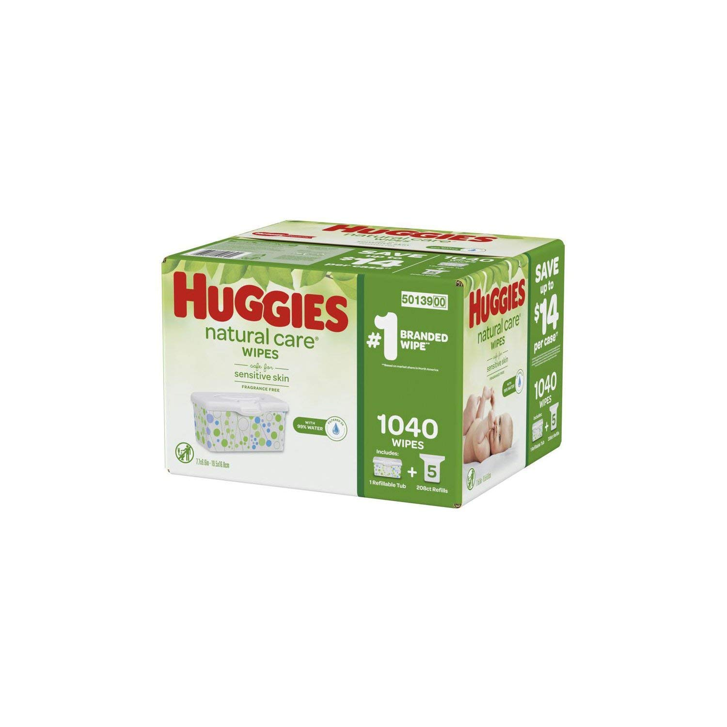Huggies Natural Care Baby Wipe Refill, Fragrance Free (1,040 ct.) by HUGGIES