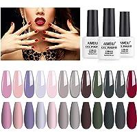 AIMEILI Soak Off UV LED Gel Nail Polish Multicolour/Mix Colour/Combo Colour Set Of 12pcs X 8ml - Kit Set 2