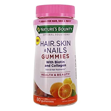 Nature S Bounty Hair Skin Nails With Biotin Collagen Citrus 80 Gummies Pack Of 2