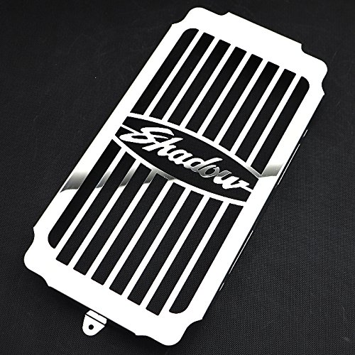 (Motorparty Radiator Grill Cover Water Tank Grille Guard Protector For Honda VT 1100 VT1100 Shadow/Spirit / Sabre 1987-2007 2006 2005 2004 2003 2002 2001 2000 1999,Stainless Steel,Shadow Pattern)