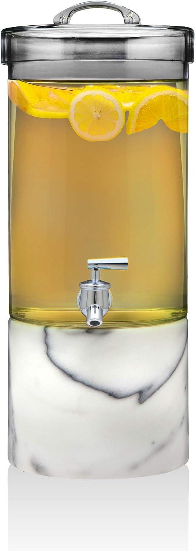 Godinger Iced Beverage Dispenser Server, Glass Drink Dispenser Marble Base