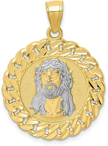 10k Yellow with White Rhodium Two-tone Gold Jesus Face Pendant
