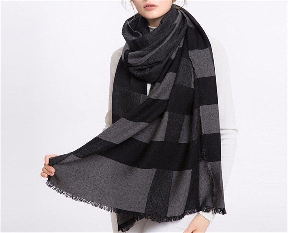 DIDIDD Bufanda invierno bufanda de lana a cuadros señoras primavera y chales de otoño,A